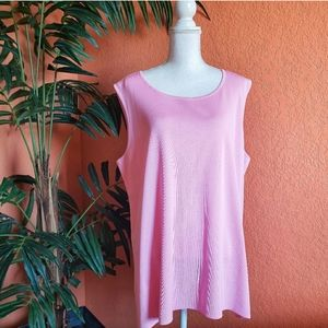 Misook Classic Knit Sleeveless Top Carnation Pink